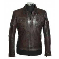 Men´s Leather Coat Nero Black
