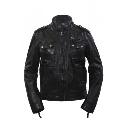 Mens Leather Jacket Surrender Black