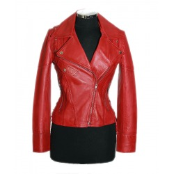 Womens Leather Jacket Medusa Red