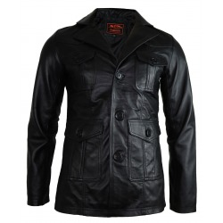 Mens Leather Blazer Hector Black