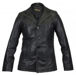 Mens Leather Blazer Troy Black