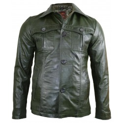 Mens Leather Blazer Troy Green