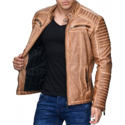 Mens Leatherette Jacket Scarabeus Brown