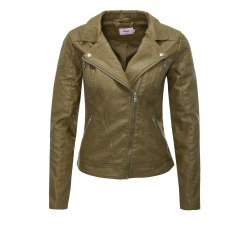 Womens Leatherette Jacket Emmy Olive