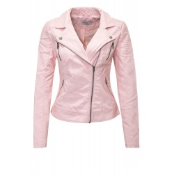 Womens Leatherette Jacket Emmy Pink