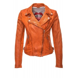 Womens Leather Jacket Karen Orange