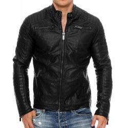 Mens Leatherette Jacket Claudius Black