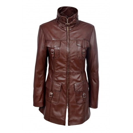 Womens Leather Jacket Lucretia Brown