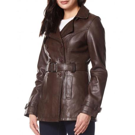 Womens Leather Coat Claudia Brown