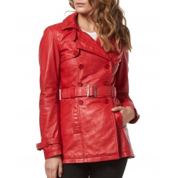 Womens Leather Coat Claudia Red
