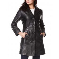 Womens Leather Coat Cassandra Black