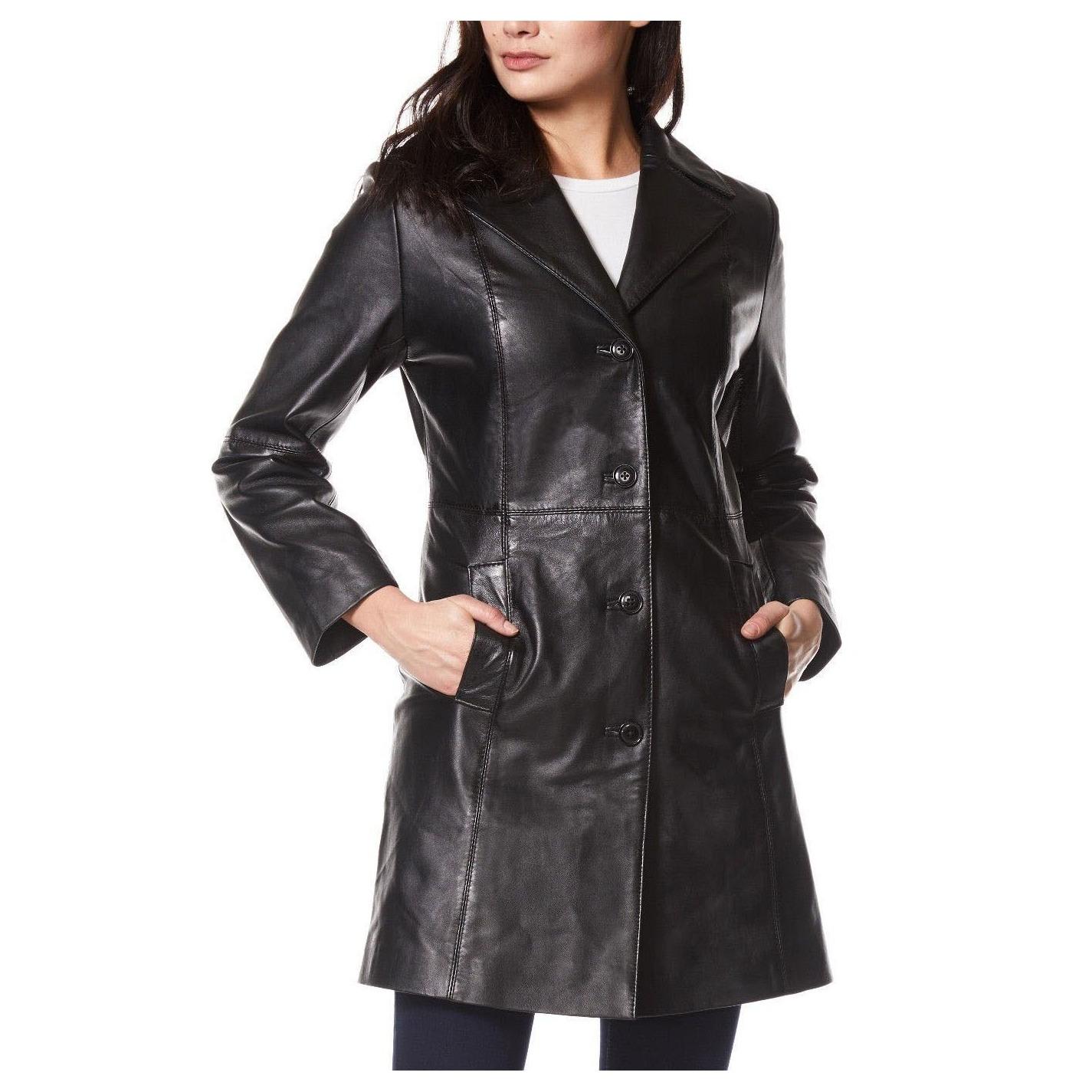c592e18e06 Dámsky Kožený Kabát Cassandra Čierny. Loading zoom