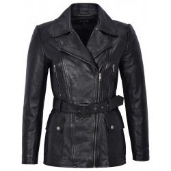 Womens Leather Coat Calypso Black