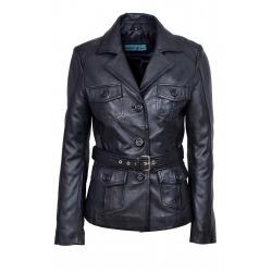 Womens Leather Coat Lilian Black