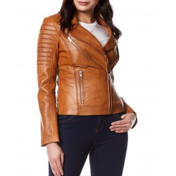 Womens Leather Jacket Alexandra Light Brown