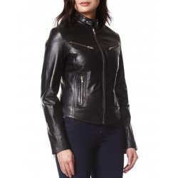 Womens Leather Jacket Miranda Black