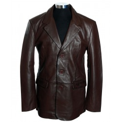 Mens Leather Blazer Trent Brown
