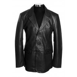 Mens Leather Blazer Trent Black