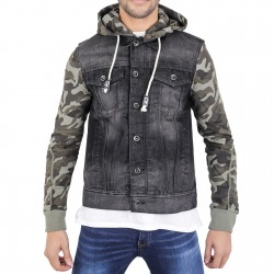 Men´s Denim Hoody Ted Black / Camo