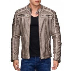 Mens Leatherette Jacket Scarabeus Beige