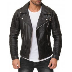 Mens Leatherette Jacket Arnold Black