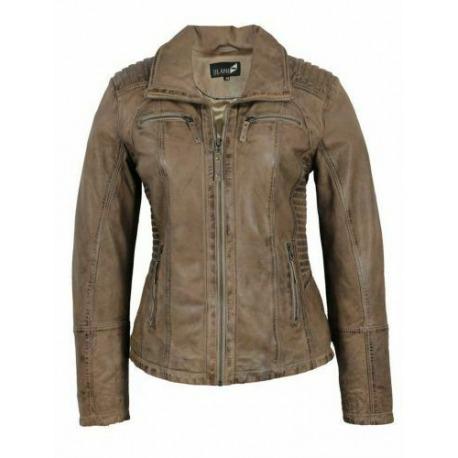 Womens Leather Jacket Stela Brown