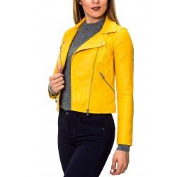 Womens Leatherette Jacket Zaria Yellow