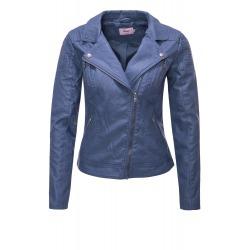 Womens Leatherette Jacket Emmy Navy