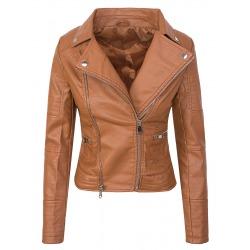 Womens Leatherette Jacket Lingua Brown