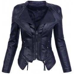 Womens Leatherette Jacket Zaria Navy