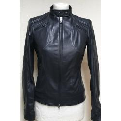 Womens Leather Jacket Amber Black