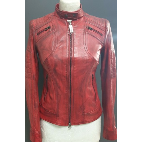 Womens Leather Jacket Abigail Red