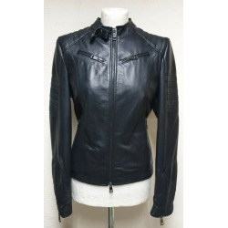 Womens Leather Jacket Crystal Black