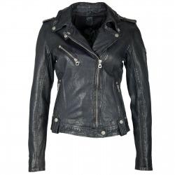 Womens Leather Jacket Adria Navy