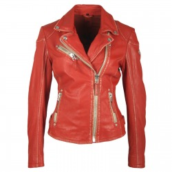 Womens Leather Jacket Alexia Red