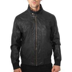 Mens Leatherette Jacket Rhino Black