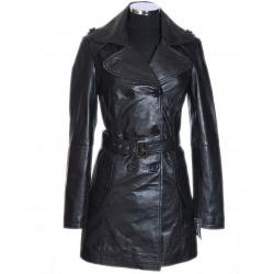 Womens Leather Coat Zayora Black