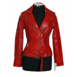 Womens Leather Jacket Meredith Red